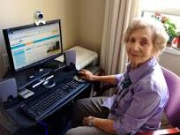 senior citizen using computer